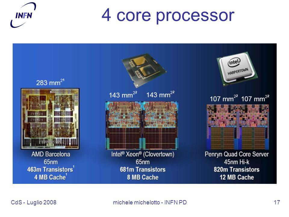 CdS - Luglio 2008 michele michelotto - INFN PD17 4 core processor