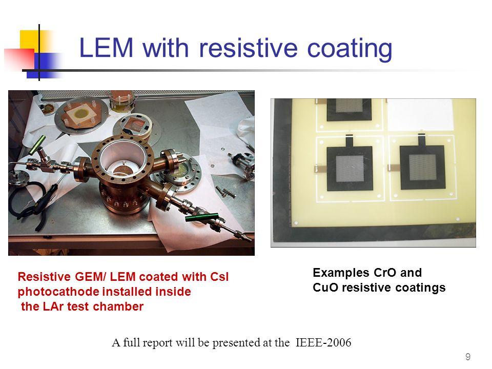 9 LEM with resistive coating Resistive GEM/ LEM coated with CsI photocathode installed inside the LAr test chamber Examples CrO and CuO resistive coat