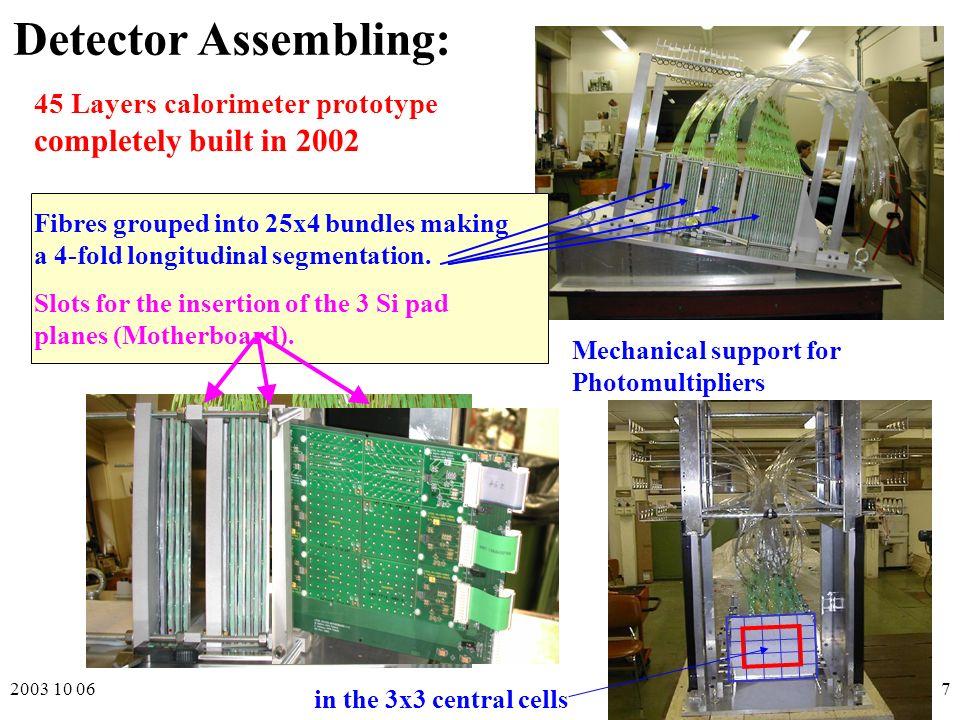 2003 10 06P. Checchia Como 8th ICATPP7 Detector Assembling: 45 Layers calorimeter prototype completely built in 2002 Fibres grouped into 25x4 bundles