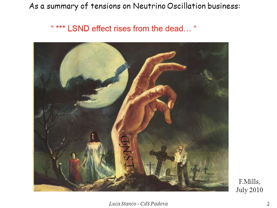 F.Mills, July 2010 As a summary of tensions on Neutrino Oscillation business: 2Luca Stanco - CdS Padova