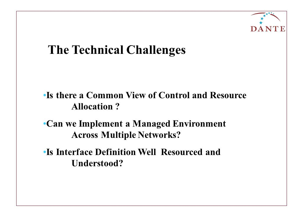 Is there a Common View of Control and Resource Allocation ? Can we Implement a Managed Environment Across Multiple Networks? Is Interface Definition W