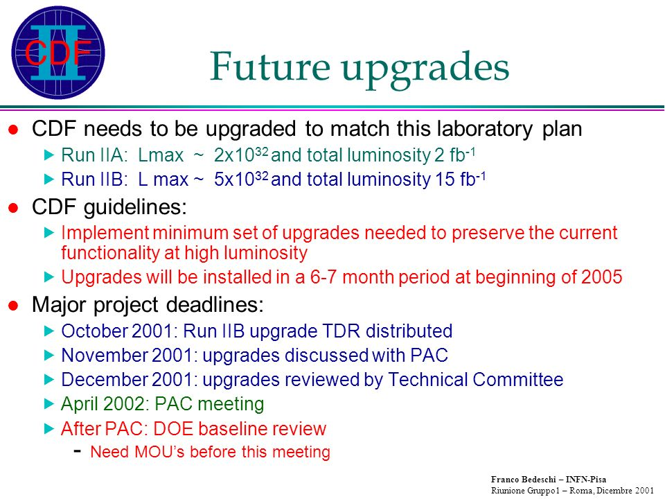 Franco Bedeschi – INFN-Pisa Riunione Gruppo1 – Roma, Dicembre 2001 Future upgrades CDF needs to be upgraded to match this laboratory plan Run IIA: Lmax ~ 2x10 32 and total luminosity 2 fb -1 Run IIB: L max ~ 5x10 32 and total luminosity 15 fb -1 CDF guidelines: Implement minimum set of upgrades needed to preserve the current functionality at high luminosity Upgrades will be installed in a 6-7 month period at beginning of 2005 Major project deadlines: October 2001: Run IIB upgrade TDR distributed November 2001: upgrades discussed with PAC December 2001: upgrades reviewed by Technical Committee April 2002: PAC meeting After PAC: DOE baseline review - Need MOUs before this meeting