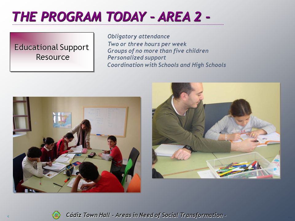 THE PROGRAM TODAY – AREA 1 - Educational Leisure Program Program Educational Leisure Program Program Cádiz Town Hall - Areas in Need of Social Transfo