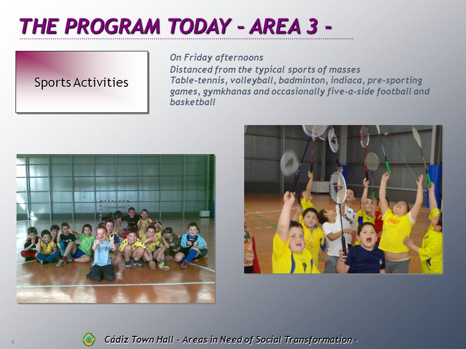 THE PROGRAM TODAY – AREA 2 - Educational Support Resource Resource Educational Support Resource Resource Cádiz Town Hall - Areas in Need of Social Tra