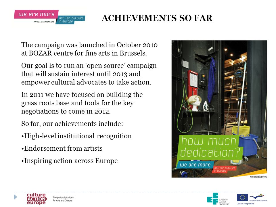 ACHIEVEMENTS SO FAR The campaign was launched in October 2010 at BOZAR centre for fine arts in Brussels. Our goal is to run an open source campaign th