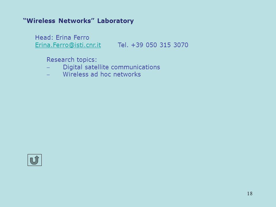 18 Wireless Networks Laboratory Head: Erina Ferro Erina.Ferro@isti.cnr.itErina.Ferro@isti.cnr.it Tel.
