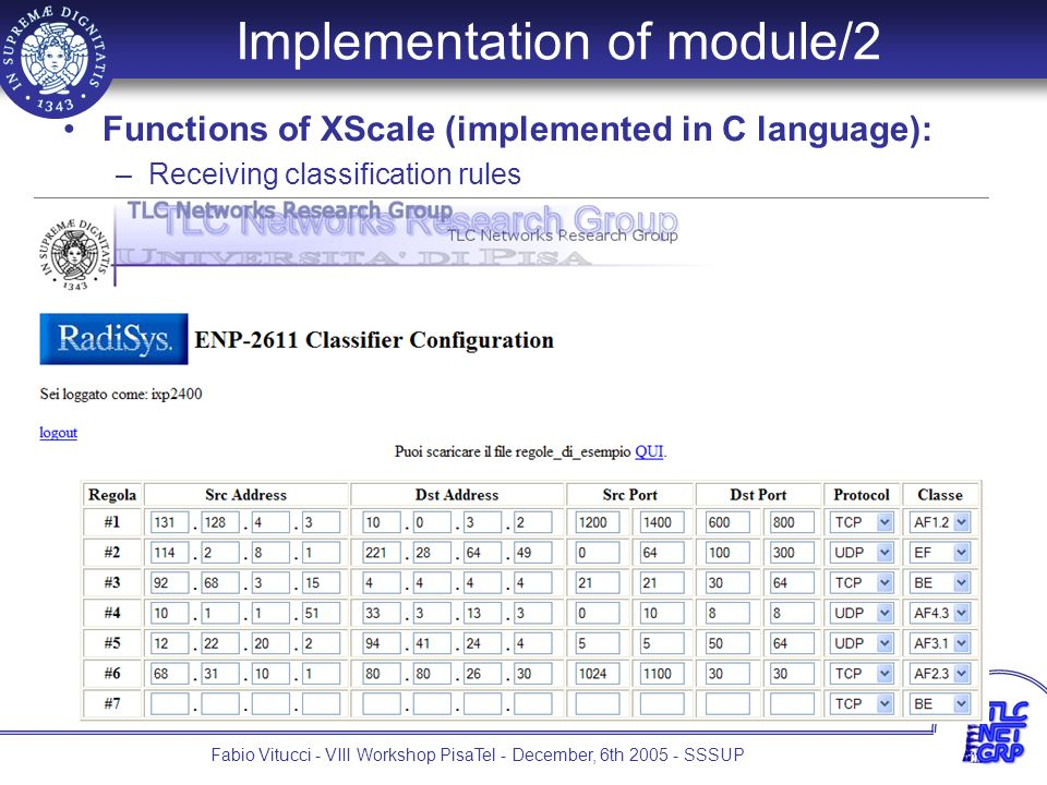 9 Fabio Vitucci - VIII Workshop PisaTel - December, 6th 2005 - SSSUP Functions of XScale (implemented in C language): –Receiving classification rules –Building multidimensional trie according to received rules to calculate the number of nodes per level and SRAM addresses –Rebuilding multidimensional trie to put data in SRAM to precalculated addresses Functions of Microengines: –Receiving packets –Retrieving proper fields to packet headers –Finding matching rules using data structure in SRAM –Modifying TOS fields Implementation of module/2