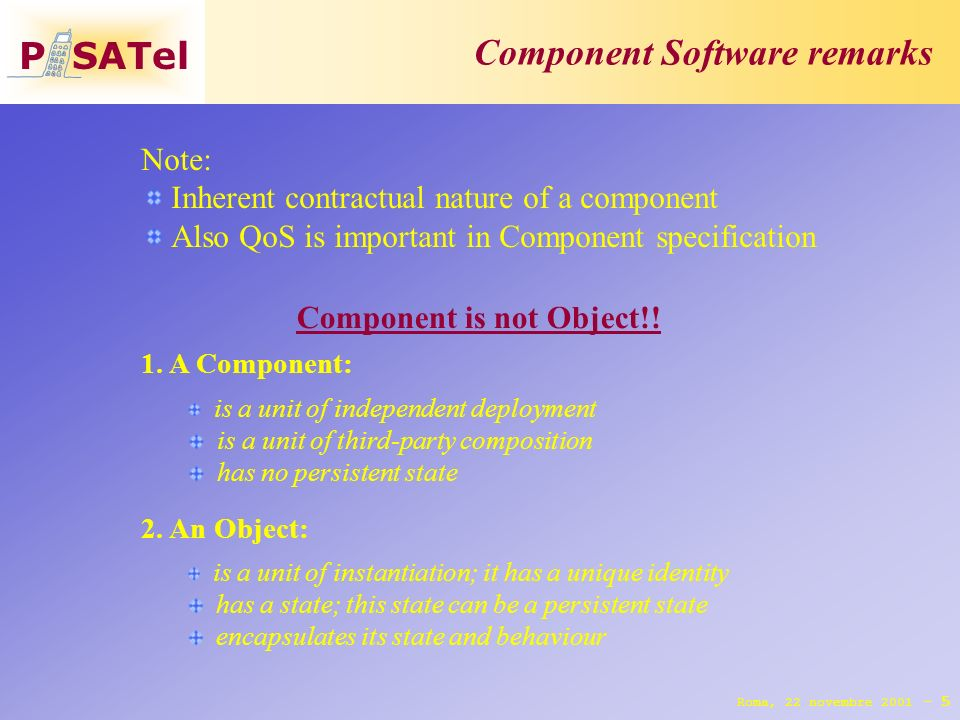 P SATel Component Software remarks 5 Roma, 22 novembre 2001 - Component is not Object!.