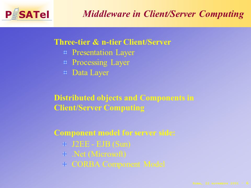 P SATel Middleware in Client/Server Computing 6 Three-tier & n-tier Client/Server Roma, 22 novembre 2001 - Presentation Layer Processing Layer Data Layer Distributed objects and Components in Client/Server Computing Component model for server side: J2EE - EJB (Sun).Net (Microsoft) CORBA Component Model