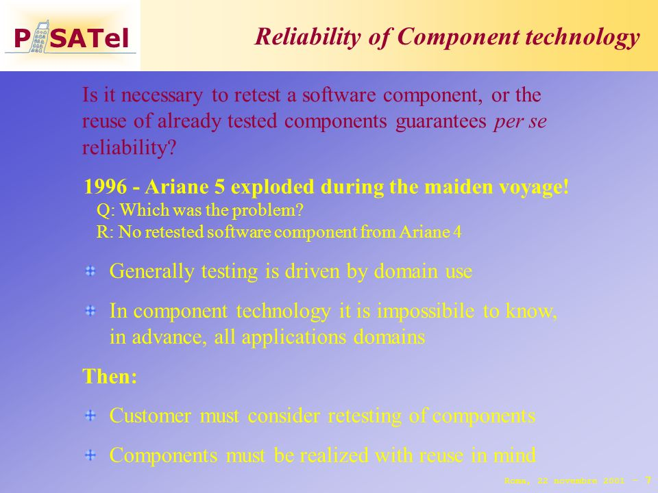 P SATel Reliability of Component technology 7 Roma, 22 novembre 2001 - 1996 - Ariane 5 exploded during the maiden voyage.