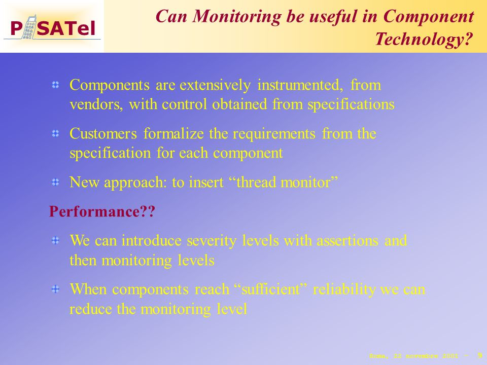 P SATel Can Monitoring be useful in Component Technology.