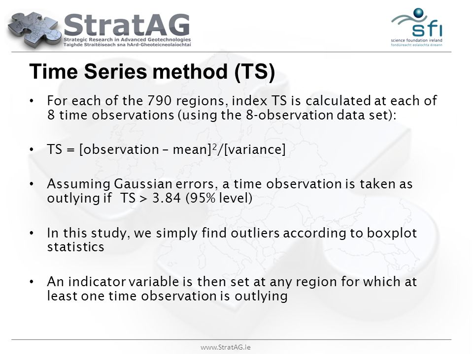 www.StratAG.ie Time Series method (TS) For each of the 790 regions, index TS is calculated at each of 8 time observations (using the 8-observation dat