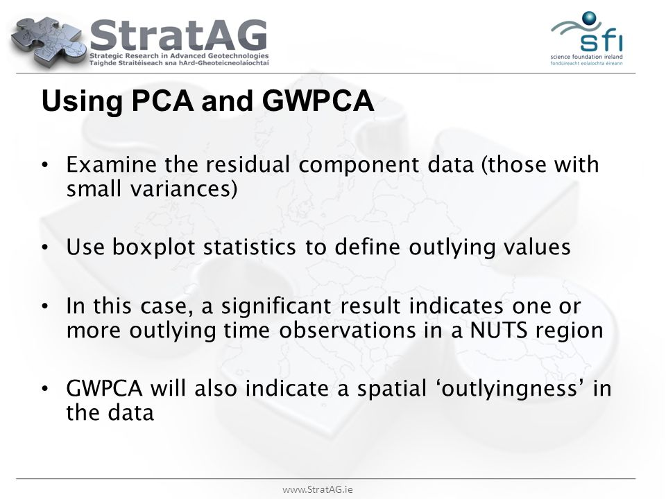 www.StratAG.ie Using PCA and GWPCA Examine the residual component data (those with small variances) Use boxplot statistics to define outlying values I