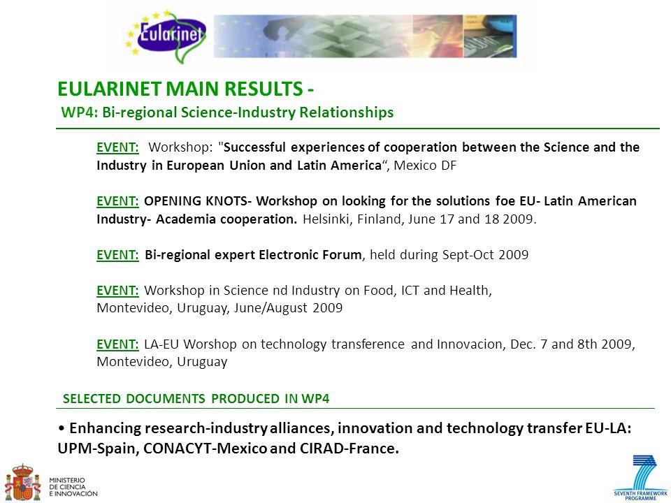 EULARINET MAIN RESULTS - WP4: Bi-regional Science-Industry Relationships EVENT: Workshop: