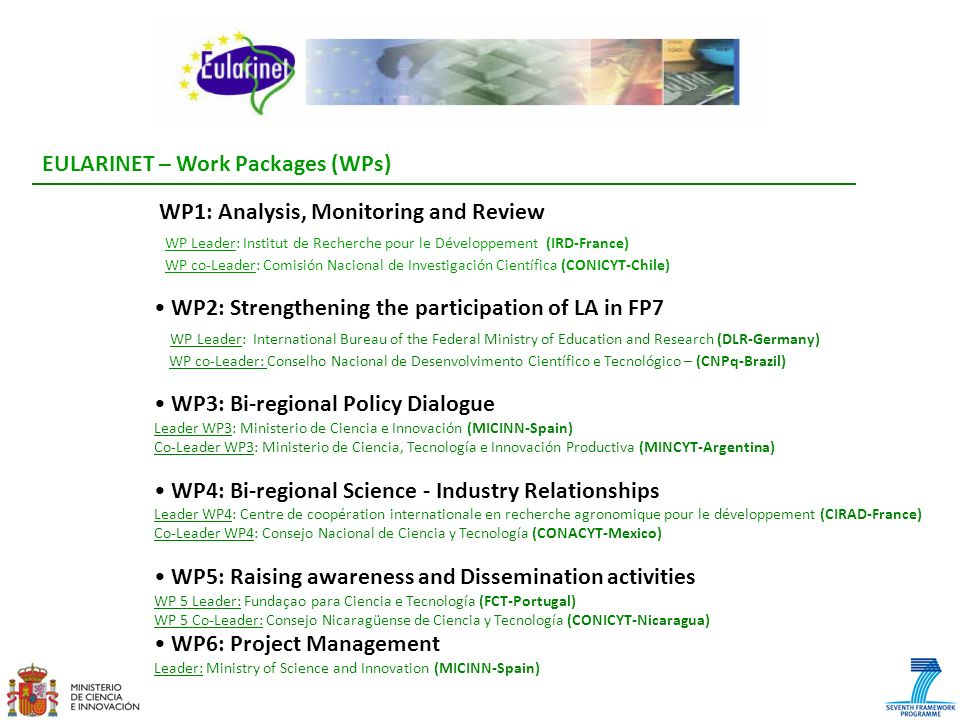 EULARINET – Work Packages (WPs) WP1: Analysis, Monitoring and Review WP Leader: Institut de Recherche pour le Développement (IRD-France) WP co-Leader: