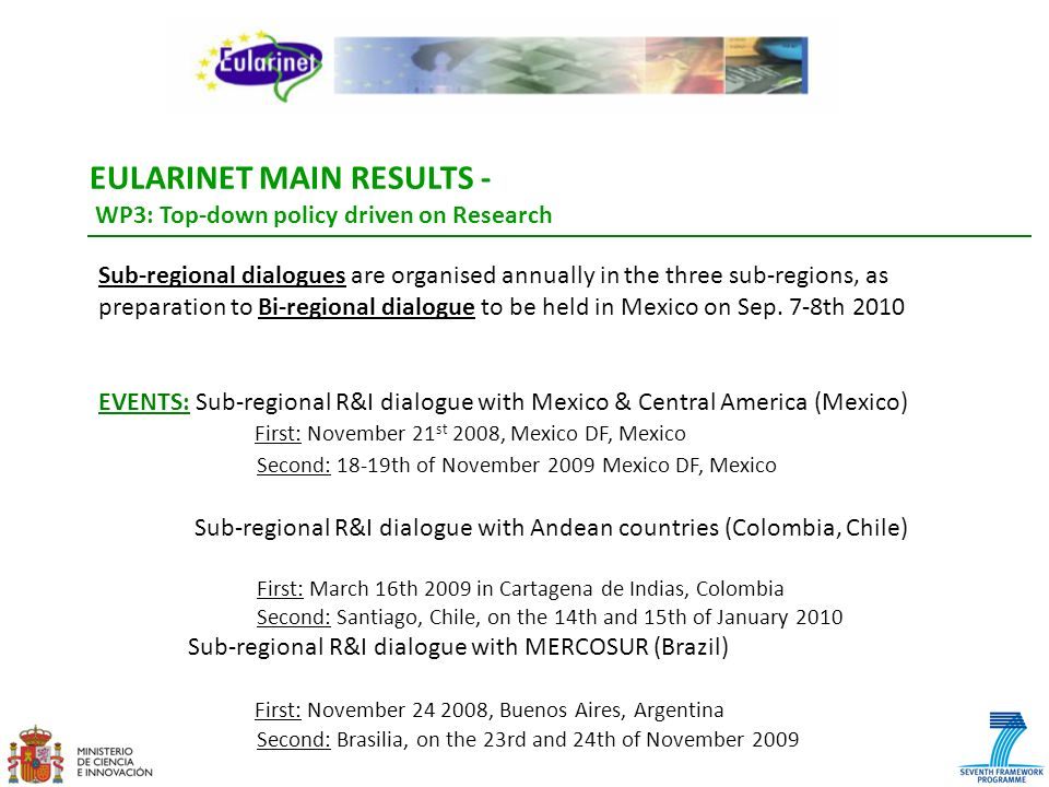 EULARINET MAIN RESULTS - WP3: Top-down policy driven on Research Sub-regional dialogues are organised annually in the three sub-regions, as preparatio