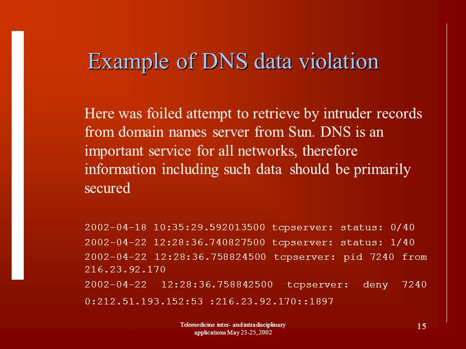 Telemedicine inter- and intradisciplinary applications May 23-25, 2002 15 Example of DNS data violation Here was foiled attempt to retrieve by intrude