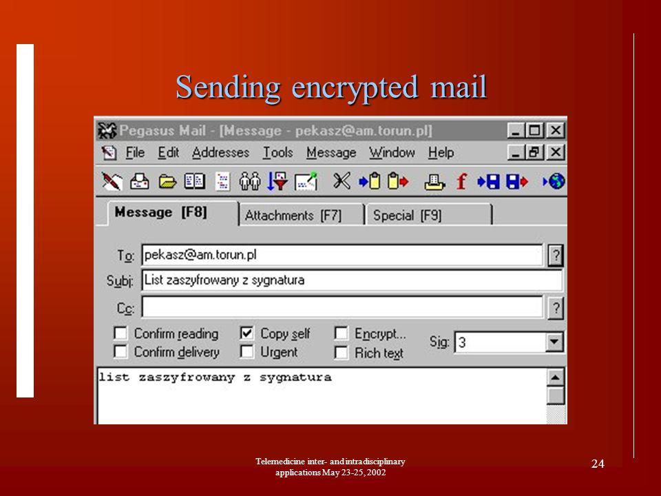 Telemedicine inter- and intradisciplinary applications May 23-25, 2002 24 Sending encrypted mail