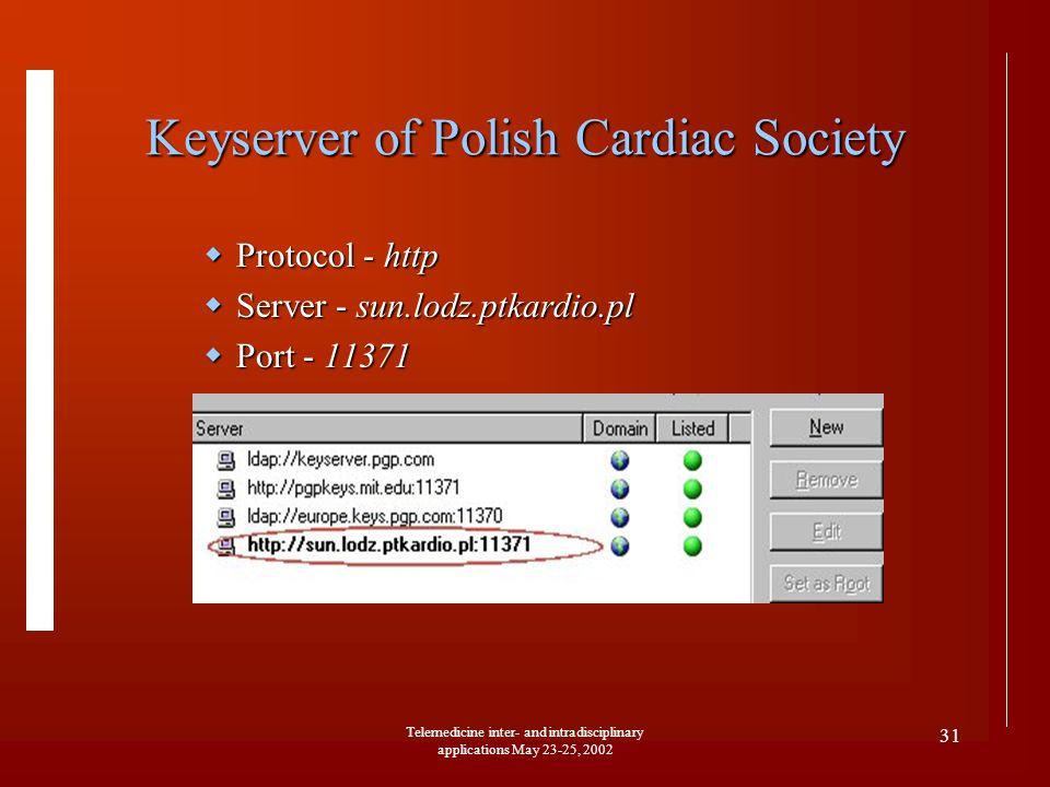 Telemedicine inter- and intradisciplinary applications May 23-25, 2002 31 Keyserver of Polish Cardiac Society Protocol - http Protocol - http Server -