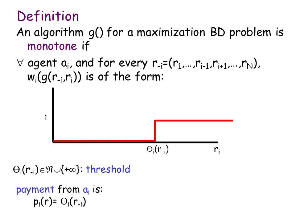 An algorithm g() for a maximization BD problem is monotone if agent a i, and for every r -i =(r 1,…,r i-1,r i+1,…,r N ), w i (g(r -i,r i )) is of the