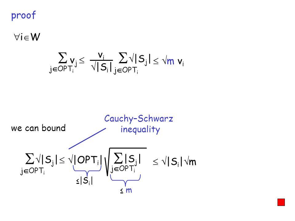 proof we can bound Cauchy–Schwarz inequality i W j OPT i v j j OPT i vivi  S i    S j   j OPT i  S j    OPT i   j OPT i  S j    S i   m m v i  S i   m