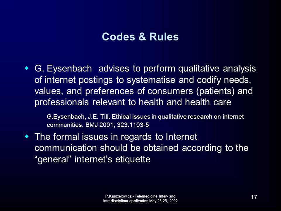 P.Kasztelowicz - Telemedicine Inter- and intradisciplinar application May 23-25, 2002 17 Codes & Rules G. Eysenbach advises to perform qualitative ana