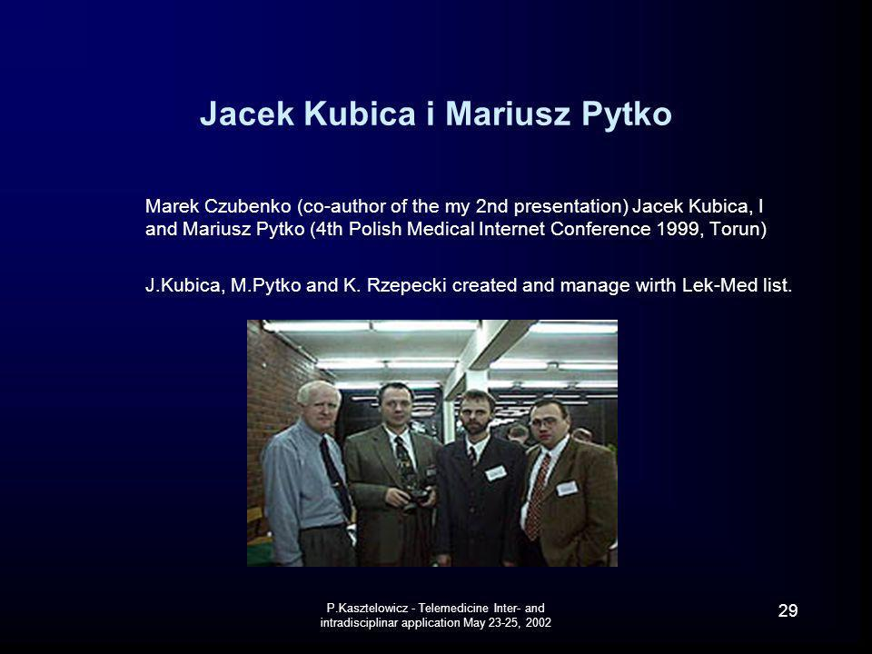 P.Kasztelowicz - Telemedicine Inter- and intradisciplinar application May 23-25, 2002 29 Jacek Kubica i Mariusz Pytko Marek Czubenko (co-author of the