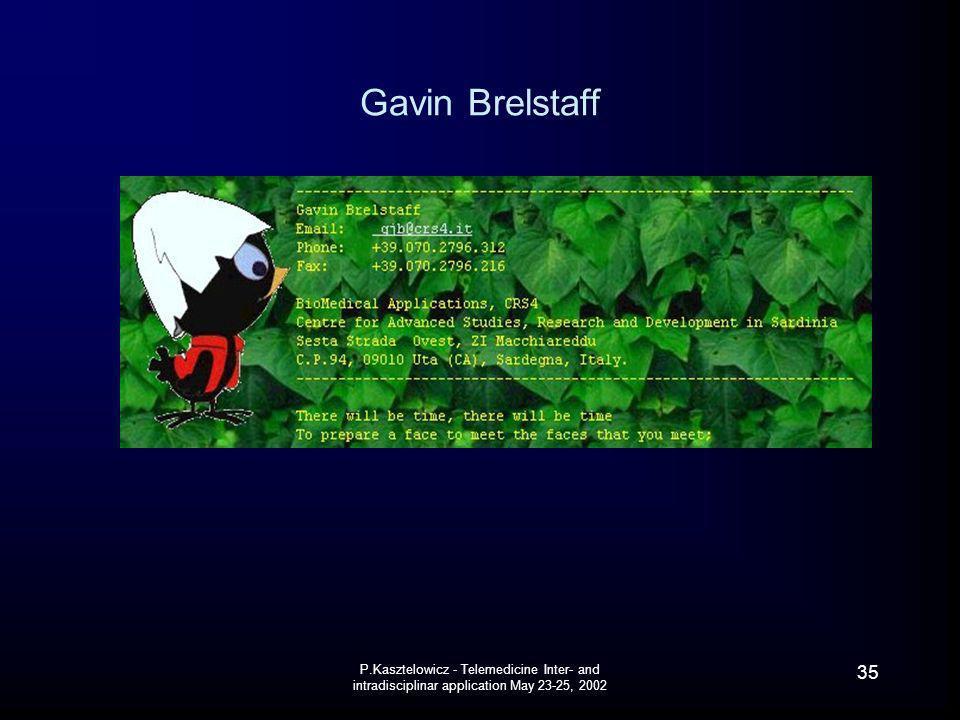 P.Kasztelowicz - Telemedicine Inter- and intradisciplinar application May 23-25, 2002 35 Gavin Brelstaff