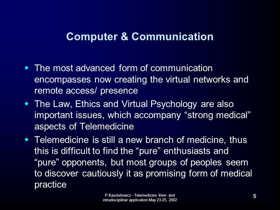 P.Kasztelowicz - Telemedicine Inter- and intradisciplinar application May 23-25, 2002 6 Virtual & Real virtual is defined as being in essence or effect but not in fact or name virtual network has the definition: interconnected or interrelated chain, group, or system F.