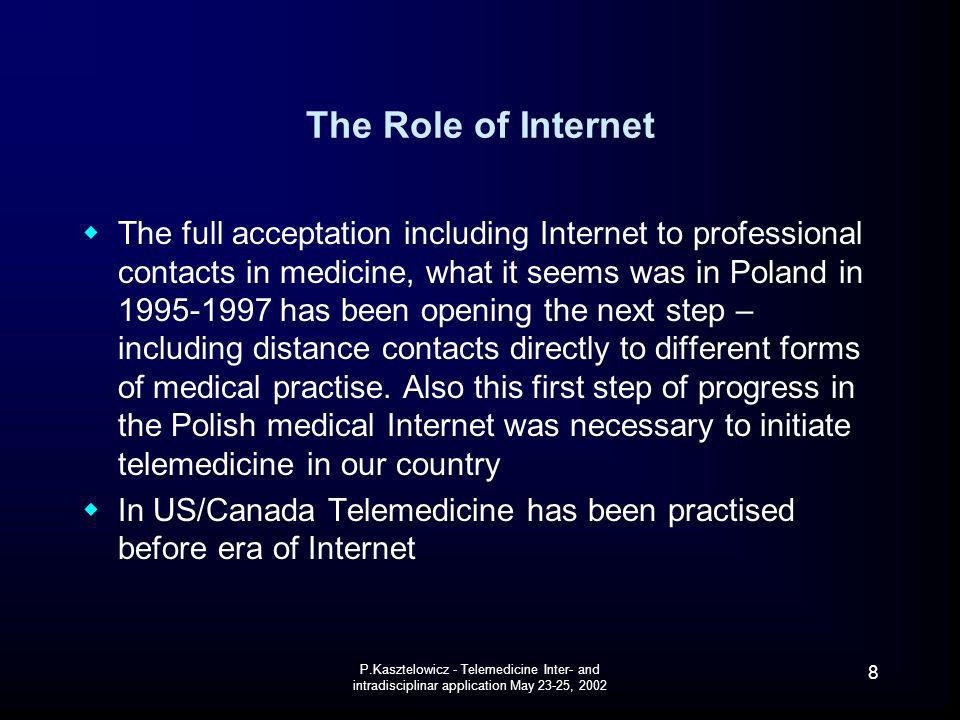 P.Kasztelowicz - Telemedicine Inter- and intradisciplinar application May 23-25, 2002 39