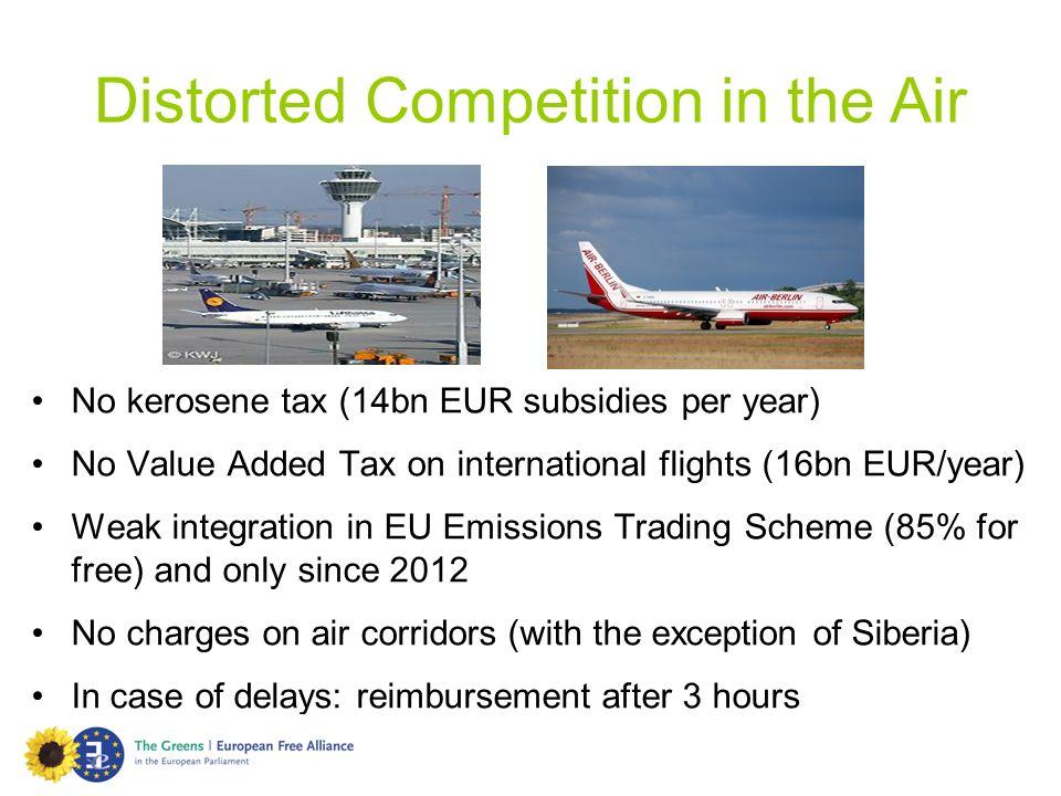 No kerosene tax (14bn EUR subsidies per year) No Value Added Tax on international flights (16bn EUR/year) Weak integration in EU Emissions Trading Sch