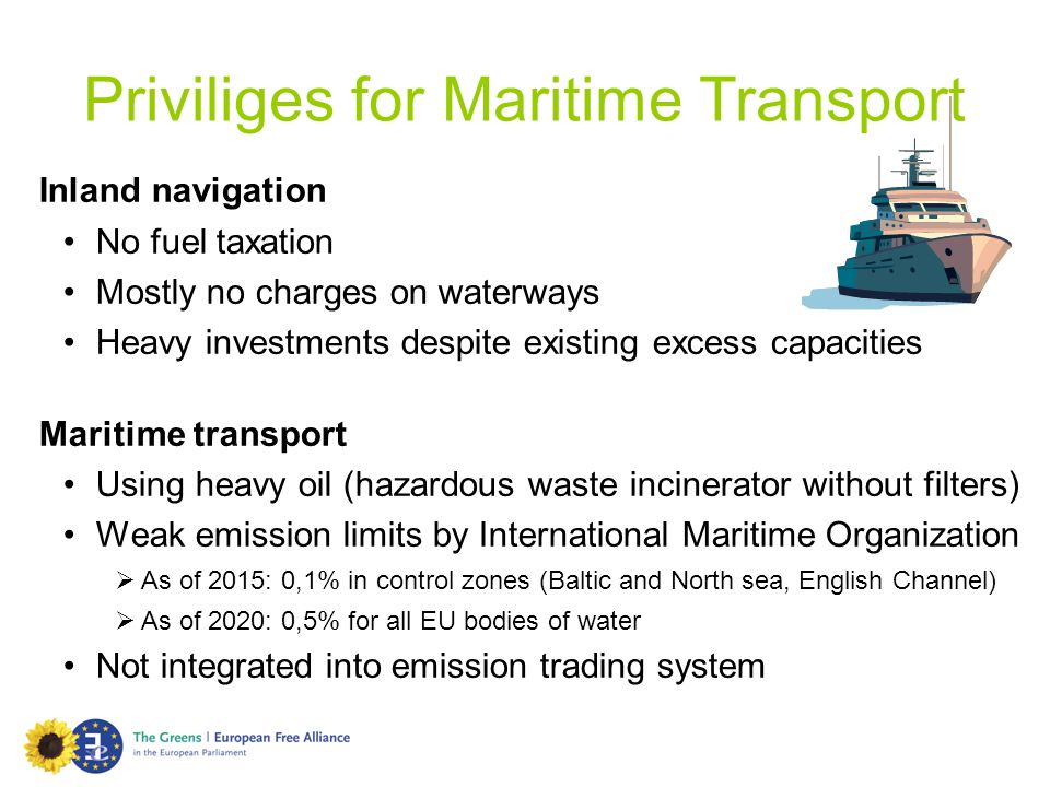 Inland navigation No fuel taxation Mostly no charges on waterways Heavy investments despite existing excess capacities Maritime transport Using heavy