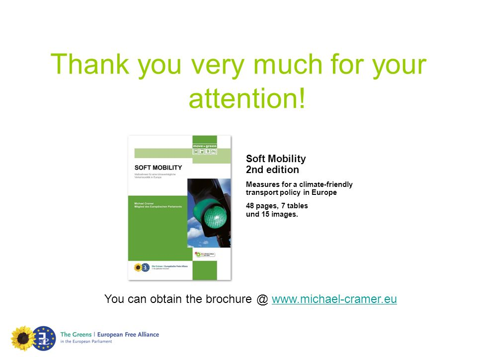 Thank you very much for your attention! Soft Mobility 2nd edition Measures for a climate-friendly transport policy in Europe 48 pages, 7 tables und 15
