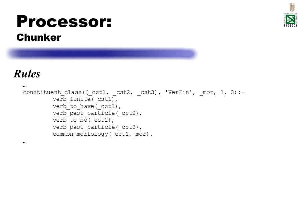 Processor: Chunker … constituent_class([_cst1, _cst2, _cst3], 'VerFin', _mor, 1, 3):- verb_finite(_cst1), verb_to_have(_cst1), verb_past_particle(_cst