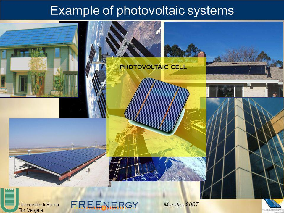 Università di Roma Tor Vergata Maratea 2007 Example of photovoltaic systems PHOTOVOLTAIC CELL
