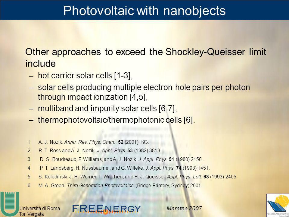 Università di Roma Tor Vergata Maratea 2007 Photovoltaic with nanobjects Other approaches to exceed the Shockley-Queisser limit include –hot carrier s