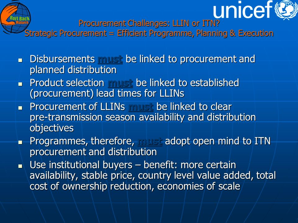 Procurement Challenges: LLIN or ITN.