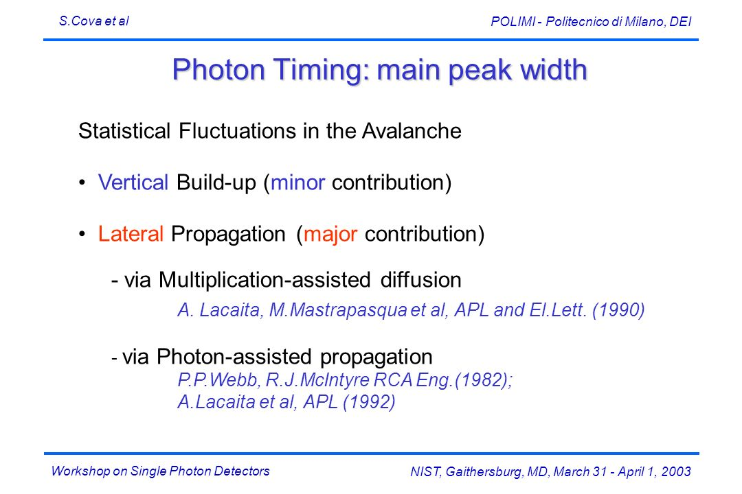 Workshop on Single Photon Detectors S.Cova et al NIST, Gaithersburg, MD, March 31 - April 1, 2003 POLIMI - Politecnico di Milano, DEI Photon Timing: main peak width Statistical Fluctuations in the Avalanche Vertical Build-up (minor contribution) Lateral Propagation (major contribution) - via Multiplication-assisted diffusion A.