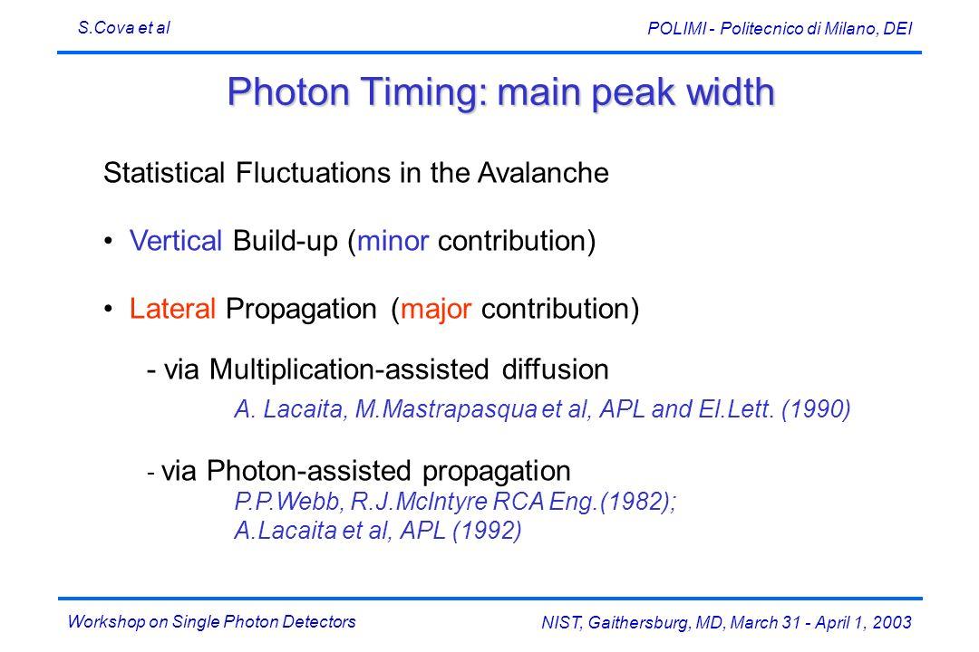 Workshop on Single Photon Detectors S.Cova et al NIST, Gaithersburg, MD, March 31 - April 1, 2003 POLIMI - Politecnico di Milano, DEI Photon Timing: m