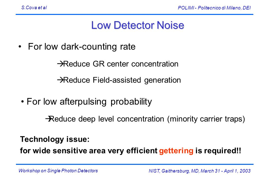 Workshop on Single Photon Detectors S.Cova et al NIST, Gaithersburg, MD, March 31 - April 1, 2003 POLIMI - Politecnico di Milano, DEI Low Detector Noi