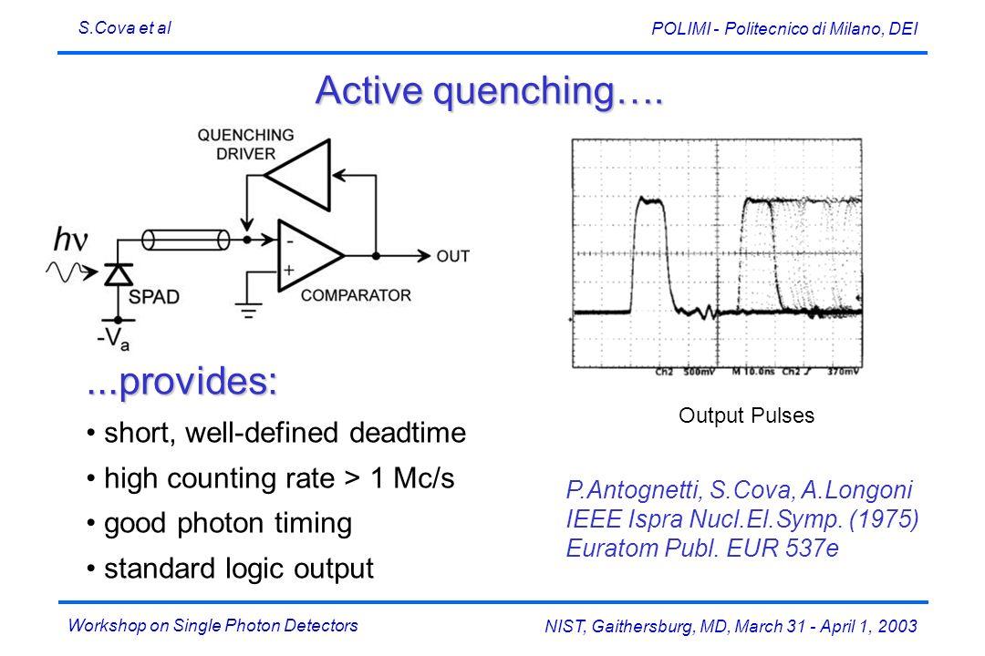 Workshop on Single Photon Detectors S.Cova et al NIST, Gaithersburg, MD, March 31 - April 1, 2003 POLIMI - Politecnico di Milano, DEI Activequenching…