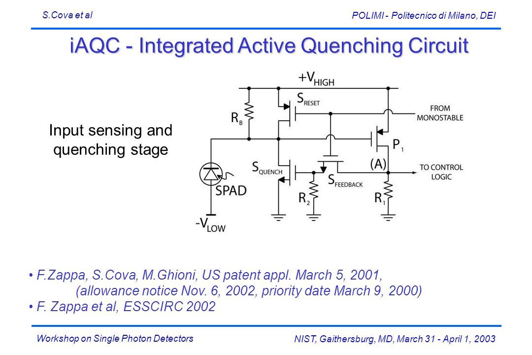Workshop on Single Photon Detectors S.Cova et al NIST, Gaithersburg, MD, March 31 - April 1, 2003 POLIMI - Politecnico di Milano, DEI iAQC - Integrate
