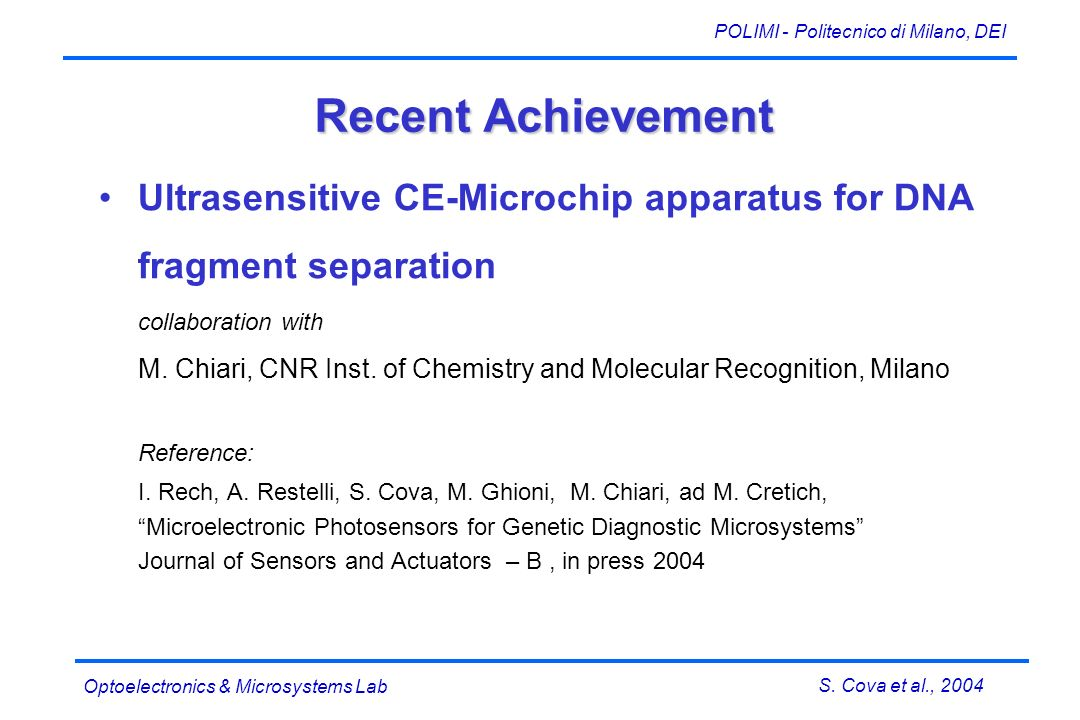 S. Cova et al., 2004 POLIMI - Politecnico di Milano, DEI Optoelectronics & Microsystems Lab Recent Achievement Ultrasensitive CE-Microchip apparatus f