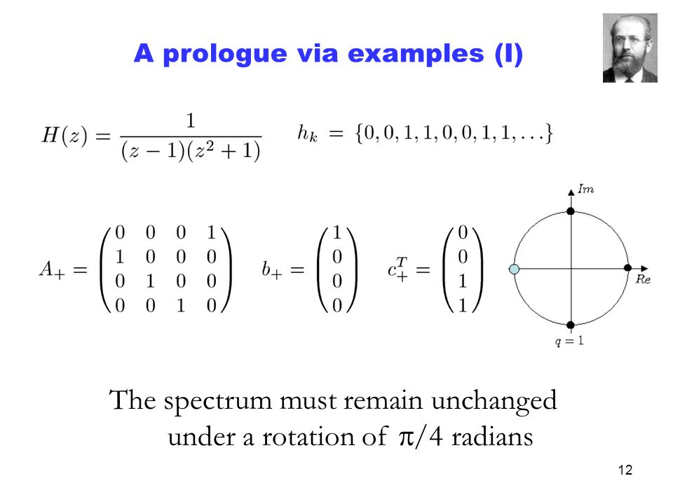 12 The spectrum must remain unchanged under a rotation of /4 radians A prologue via examples (I)