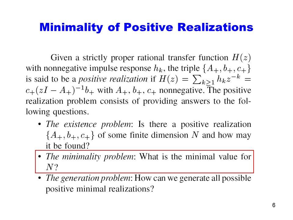 6 Minimality of Positive Realizations