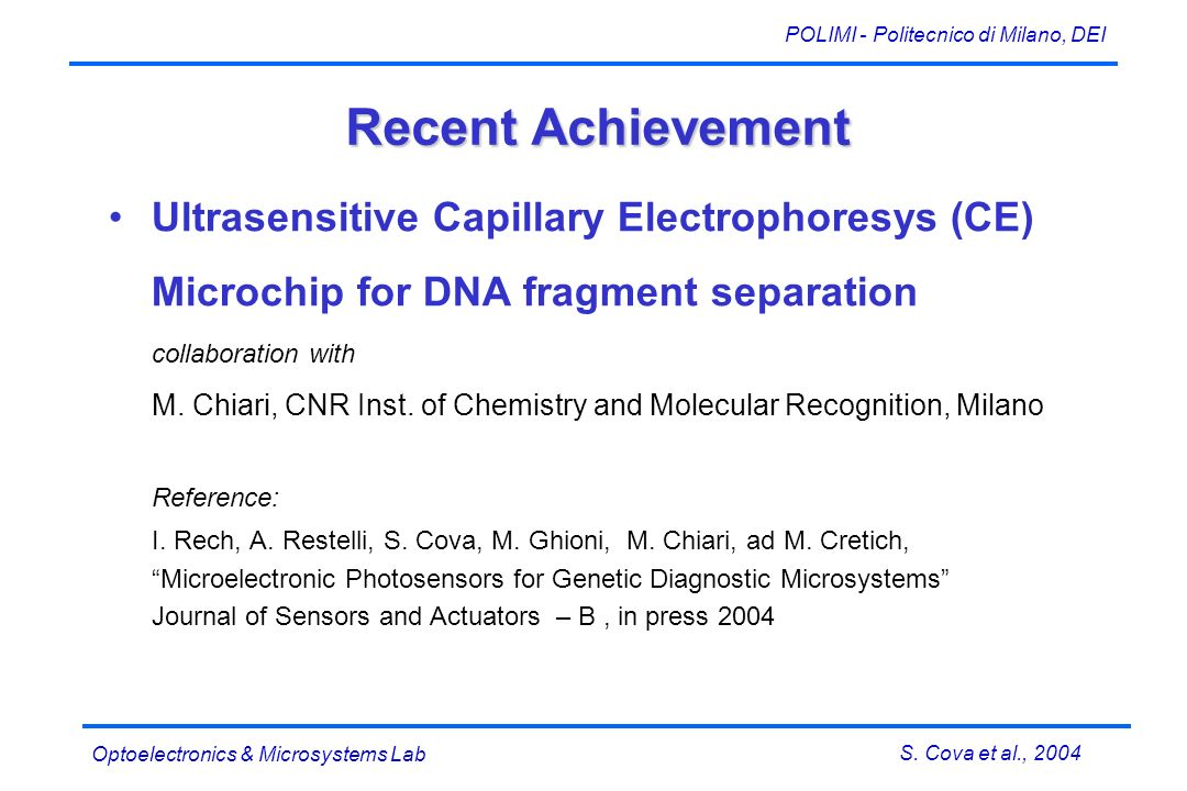 S. Cova et al., 2004 POLIMI - Politecnico di Milano, DEI Optoelectronics & Microsystems Lab Recent Achievement Ultrasensitive Capillary Electrophoresy