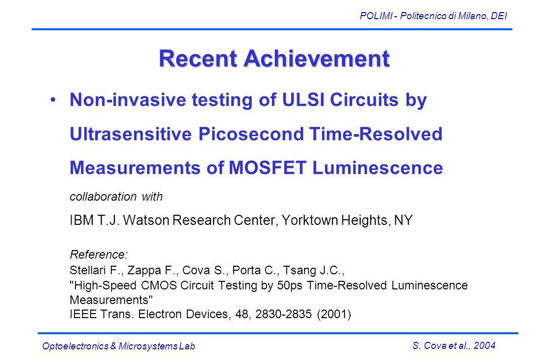 S. Cova et al., 2004 POLIMI - Politecnico di Milano, DEI Optoelectronics & Microsystems Lab Recent Achievement Non-invasive testing of ULSI Circuits b