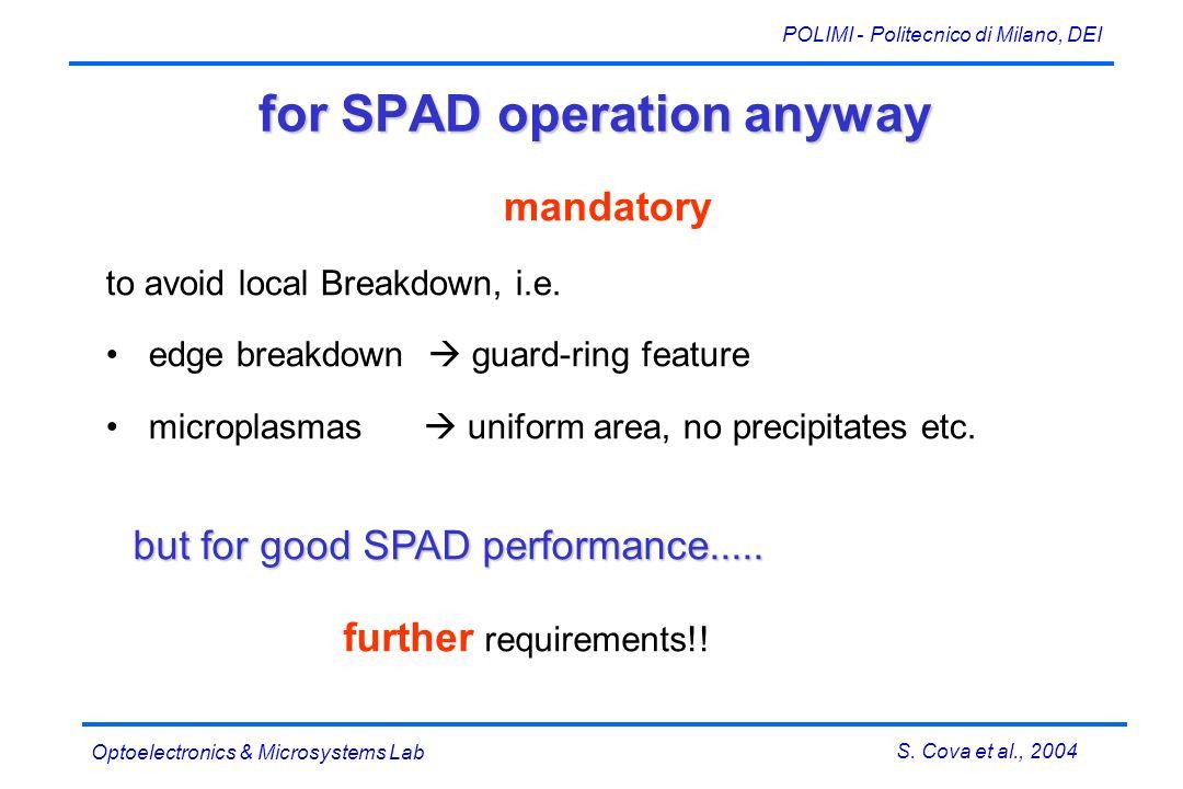 S. Cova et al., 2004 POLIMI - Politecnico di Milano, DEI Optoelectronics & Microsystems Lab for SPAD operation anyway mandatory to avoid local Breakdo