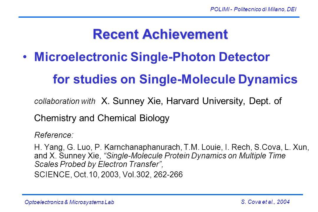 S. Cova et al., 2004 POLIMI - Politecnico di Milano, DEI Optoelectronics & Microsystems Lab Recent Achievement Microelectronic Single-Photon Detector
