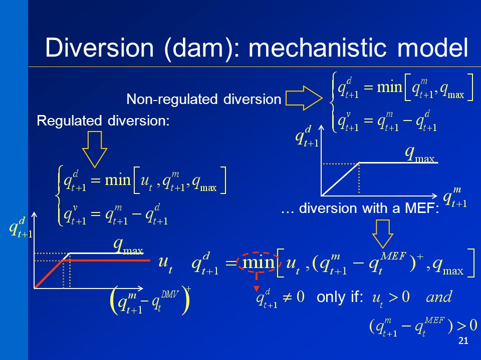 21 Diversion (dam): mechanistic model Non-regulated diversion Regulated diversion: … diversion with a MEF: only if: